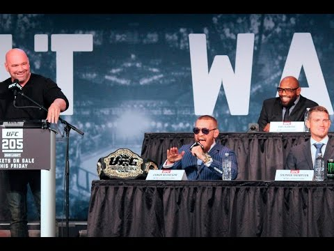 Conor McGregor vs Jeremy Stephens at the 205 press cinference featuring Karolina Kowalkiewicz's beatiful LOLing. Karolina is scheduled to fight Jessica Penne at UFC 265