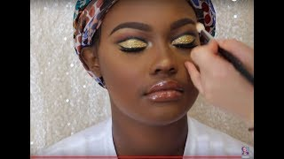 How I do Makeup on Clients | Gold Glitter Cut Crease | WOC
