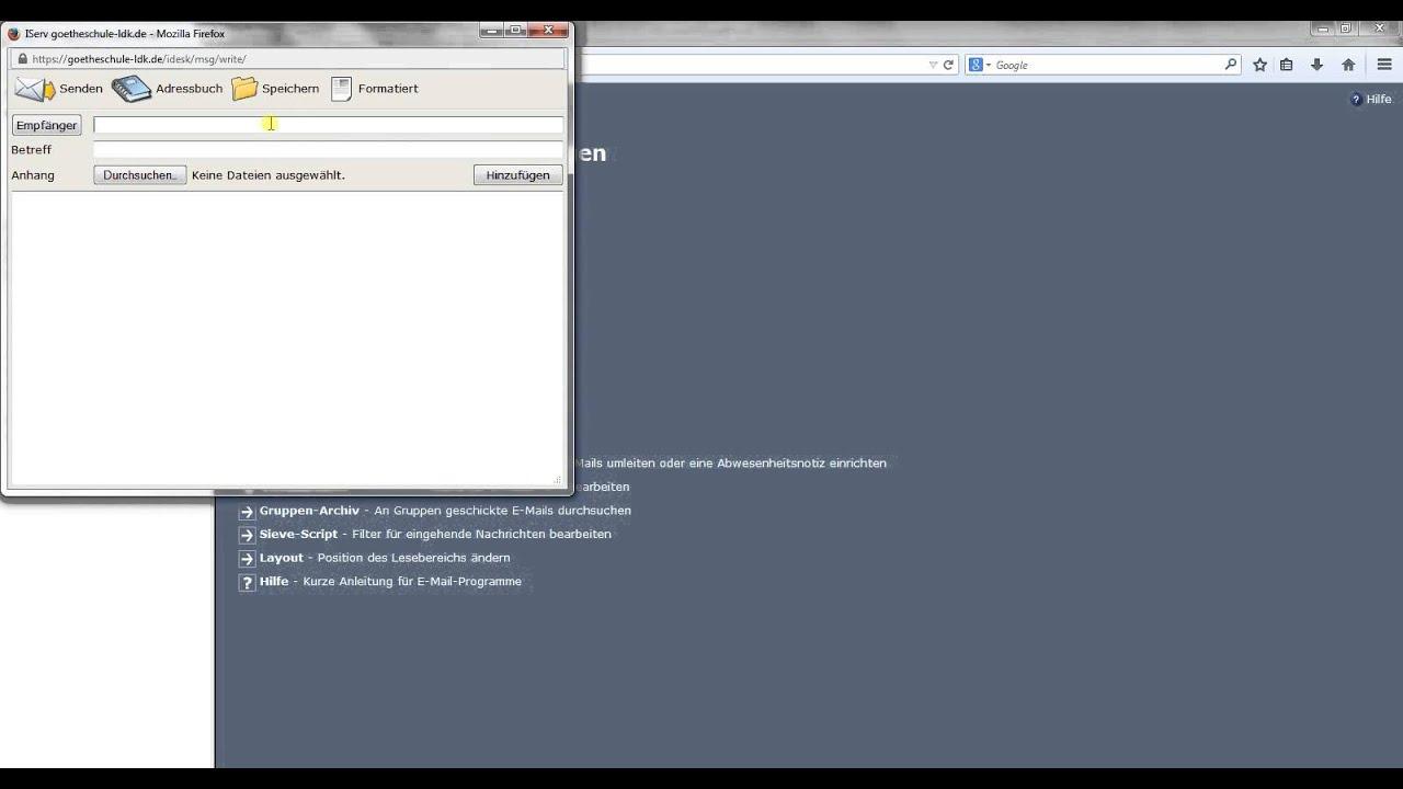 Goetheschule iserv Funktionen der Weboberfläche - YouTube