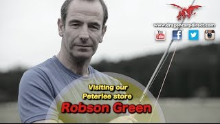 Robson Green and Roger Surgay at Dragon Carp Direct's Peterlee store