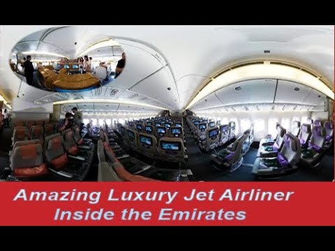 Amazing Luxury Jet Airliner  360 digree View  Inside the Emirates Boeing 777 300  HD 720p