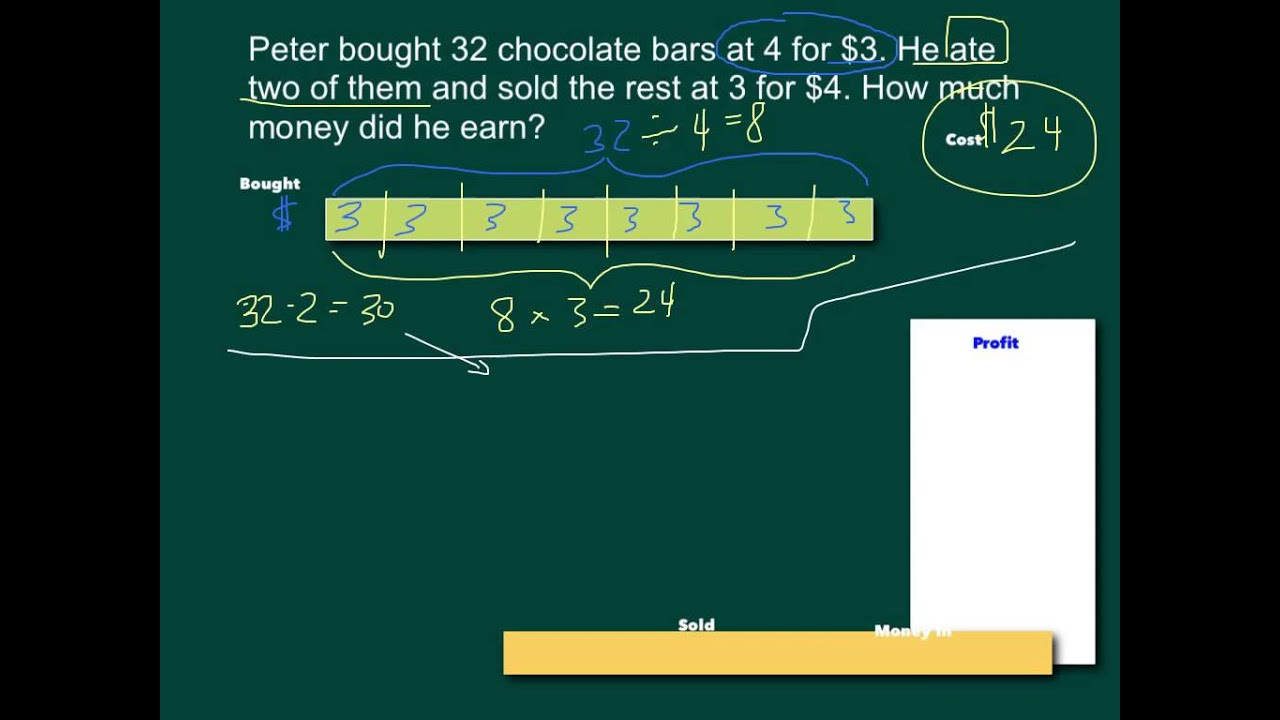 2-Step Word Problems and Bar Models (solutions, examples