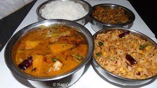 Lunch Menu Recipes-Drumstick Mango Sambar Murungakkai Mangai Sambar-Soya Chunks Masala Poriyal