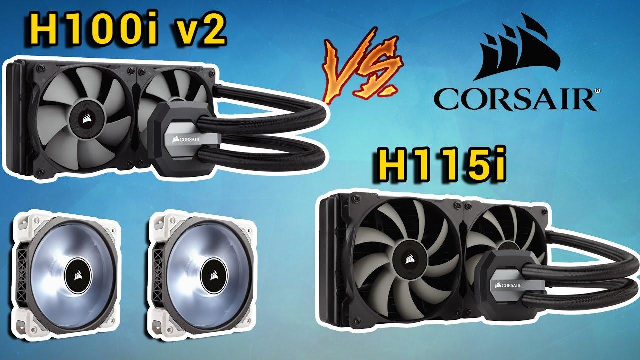 Сравнение Corsair H100i v2 vs H115i (В стоке и с ML PRO LED)