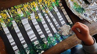 집콕 미술놀이, 쿠킹호일로 나무 그리기, /アート遊び、…