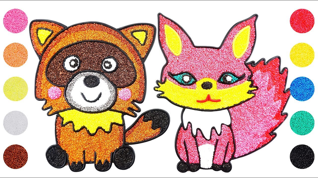Raccoon And Fox With Foam Clay Coloring And Drawing For Kids Colorful Draw Youtube