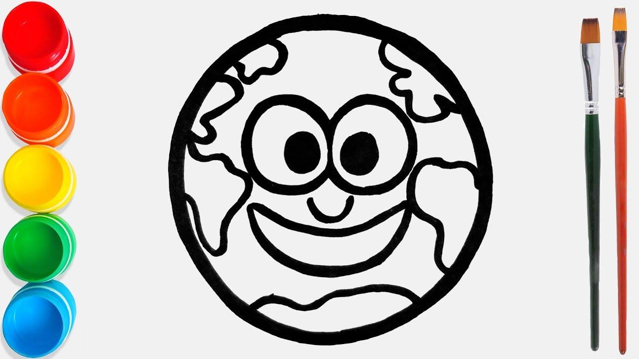 Cara Menggambar Dan Mewarnai Planet Bumi Mainan 64 Video Pendidikan Untuk Anak Anak