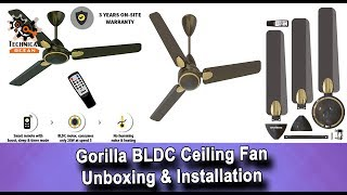 Gorilla Energy Saving 5 Star Rated 1200 mm Premium Ceiling Fan With Remote Control And Bldc Motor
