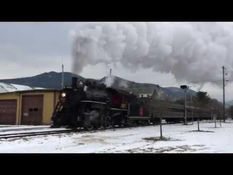HD: Conway Scenic Railroad Steam in the Snow 2012