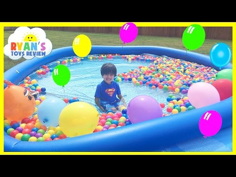 Thumbnail: BALLOON POP SURPRISE TOYS CHALLENGE giant ball pit in Huge pool Kinder Egg Disney Cars Toys