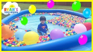 BALLOON POP SURPRISE TOYS CHALLENGE giant ball pit in Huge pool Kinder Egg Disney Cars Toys