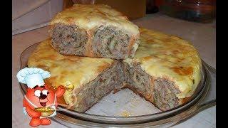 Вкусный пирог из лаваша с фаршем, сыром и овощами