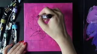 Acrylic Painting TimeLapse | Abstract floral palette knife painting