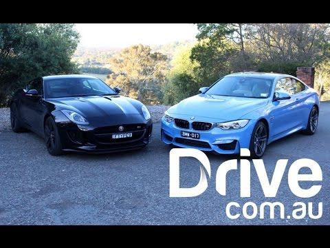 BMW M4 vs Jaguar F-Type V6S Video Review | Drive.com.au