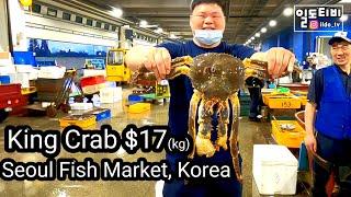 노량진수산시장 (활)킹크랩 2만원(kg) 운좋게 구입!…