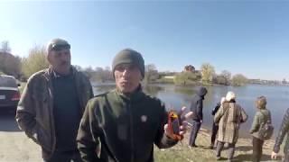 Зарыбление толстолобом, реки Рось в городе Белая Церковь 2.04.2019.