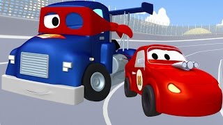 carl transform and the racing car in car city   truck cartoon for kids