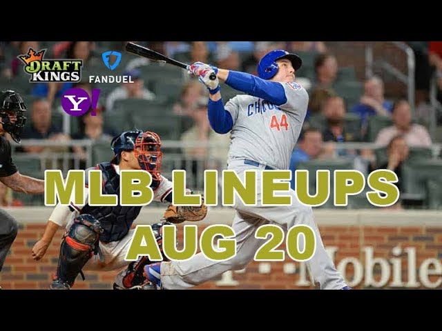MLB DFS Lineups - Tues 8/20 - Four Corners - DraftKings, FanDuel, Yahoo - Awesemo.com