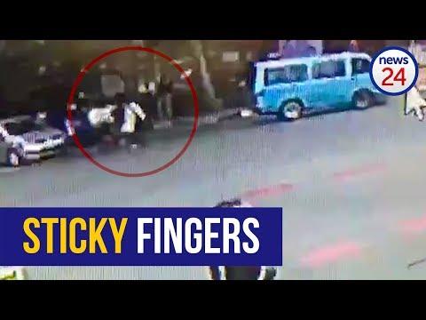 WATCH: Wily thief nabs SABC camera equipment during #StateCaptureInquiry