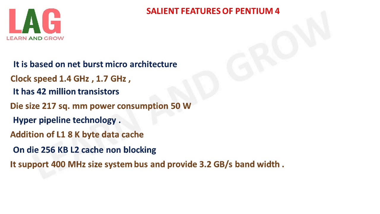 small resolution of salient features of pentium 4