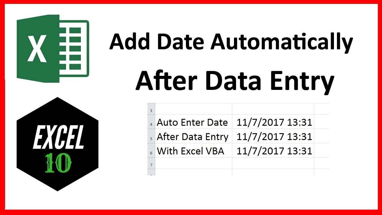 how to add dates in excel automatically