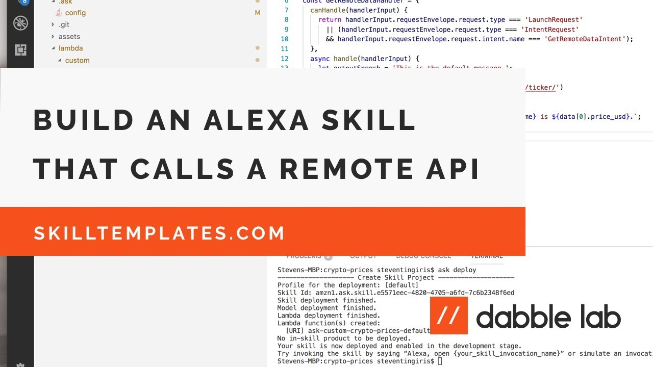 Building an Alexa skill that uses data from an external API - Dabble Lab #76