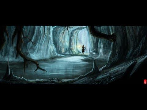 Digital painting progress with Photoshop - Cave explore