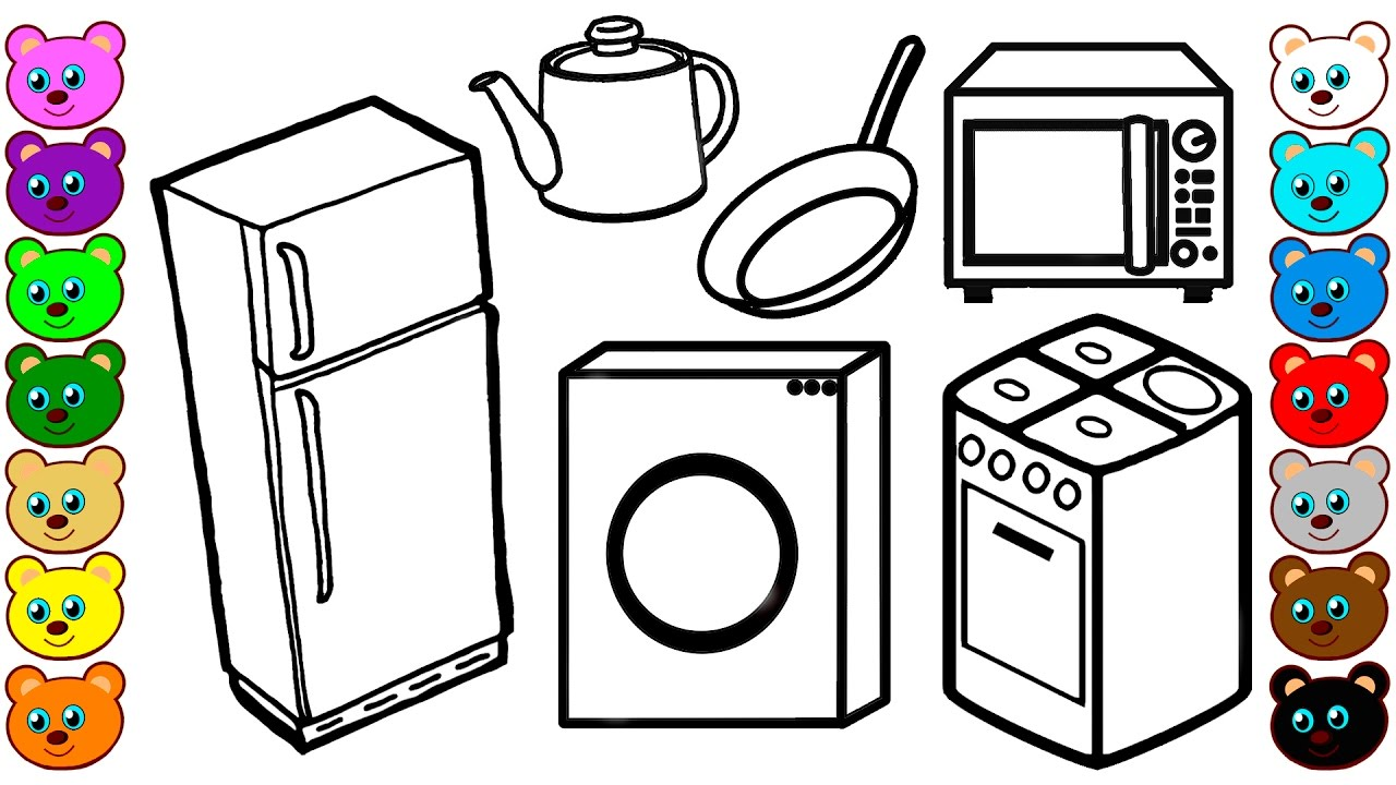 Kitchen Appliances And Tools Coloring Book For Kids Youtube