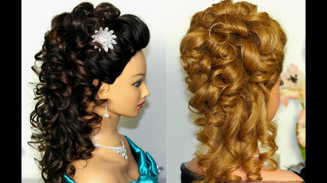 Bridal, prom hairstyle for long hair. Curly hairstyle ...