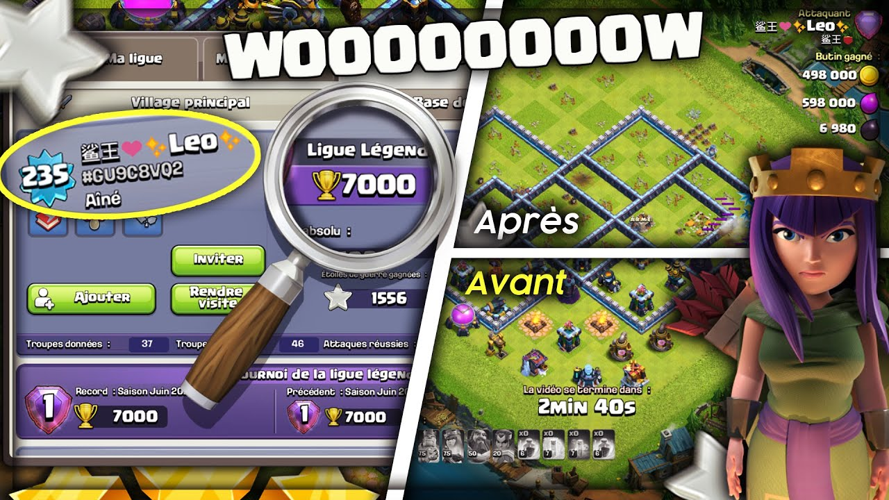 LE TOP 1 MONDE LÉO M'ATTAQUE ! Clash of clans Rush fr