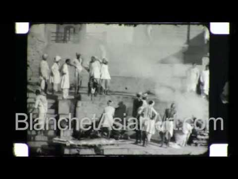 Rare video of India in the 1920's: the Golden Temple of Varanasi and rituals on the Ganges River