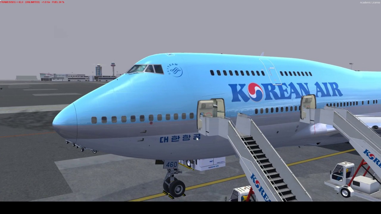 P3D V4 PMDG 747 Korean air 1223 Gimpo to Jeju on vatsim