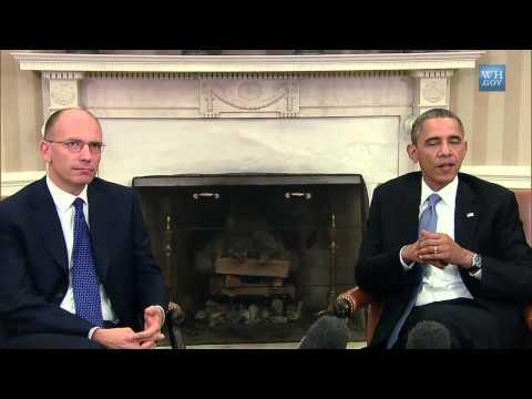 Casa Bianca - Incontro bilaterale Enrico Letta e Barack Obama (17.10.13)