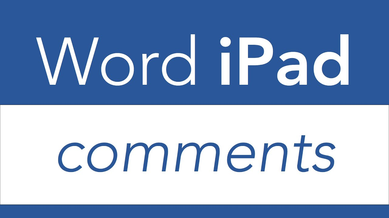 How To Add Ament On Word For Ipad? Word Ipad