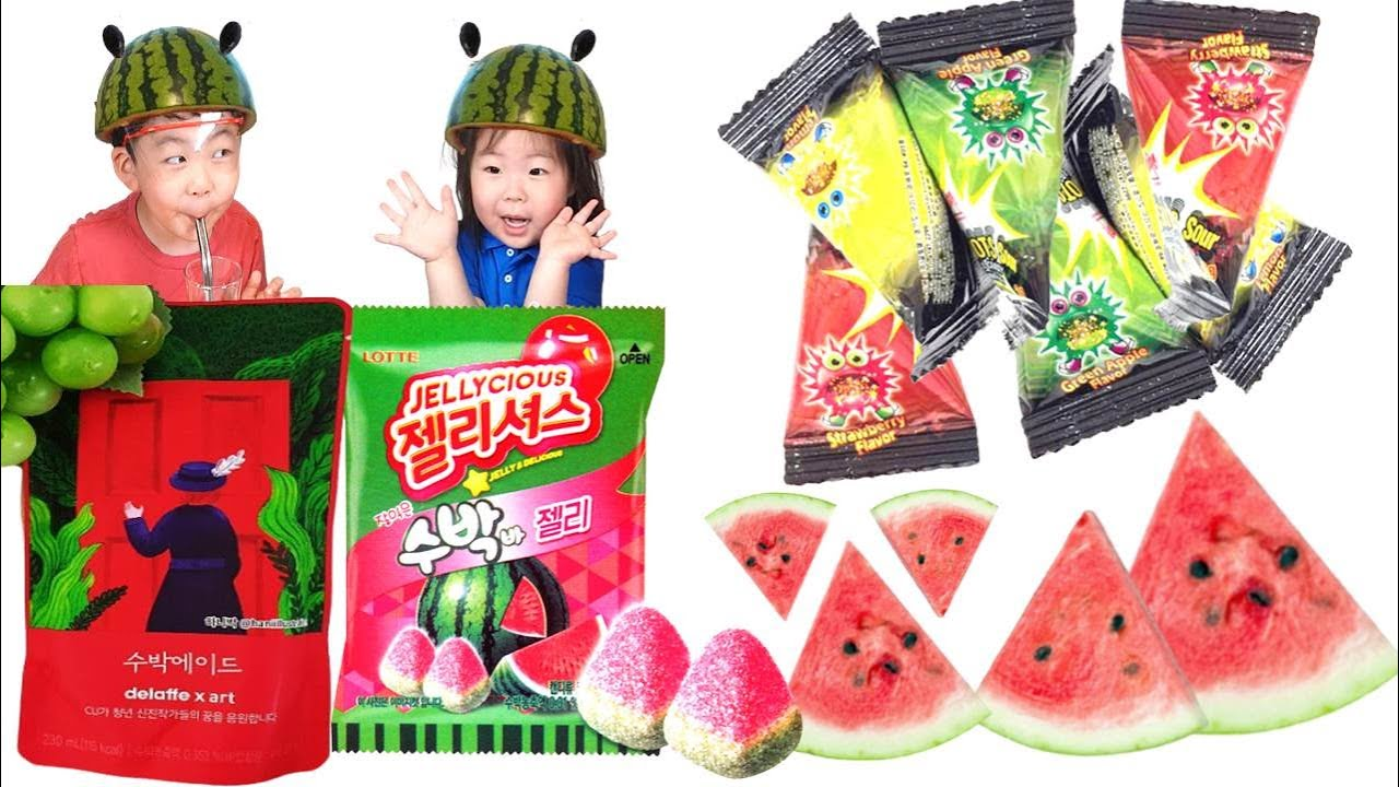Watermelon Food MUKBANG Watermelon Jelly&Ade PoppingCandy 수박먹방 팝핑캔디 수박젤리 수박에이드