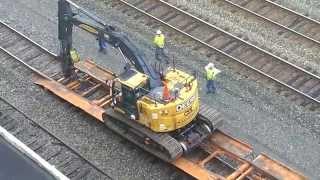 CSX Loading Track Maintenance Vehicles onto Train