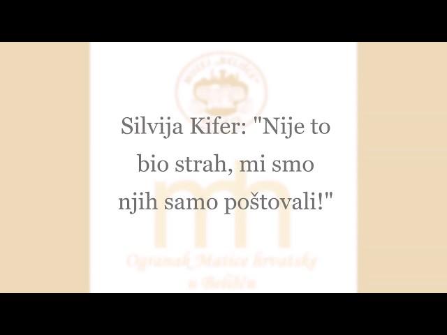 Silvija Kifer: Nije to bio strah, mi smo njih samo poštovali!