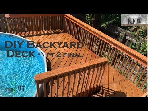 97 - How to Build a Backyard Deck - part 2 Final - Around an Above Ground Pool DIY Home Improvement