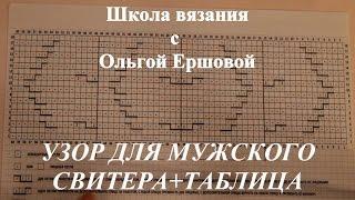 Школа вязания. УЗОР ДЛЯ МУЖСКОГО СВИТЕРА + ТАБЛИЦА