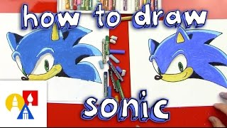 How To Draw Sonic The Hedgehog(Time for more Smash Bros.! You're going to need a lot of blue for how to draw Sonic The Hedgehog! We used Pentel oil pastels to color our Sonic drawings., 2014-12-17T13:56:12.000Z)