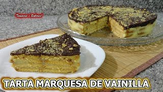 TARTA MARQUESA DE VAINILLA CON COBERTURA DE CHOCOLATE ESPECIAL DIA DE LA MADRE SIN HORNO RIQUISIMA