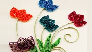 Paper Quilling Art | How to make Beautiful Quilling colorful  Flowers design-Part1