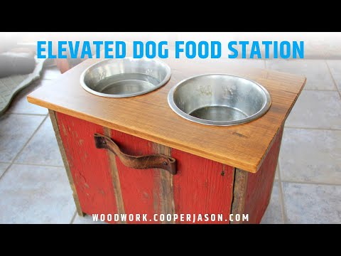 DIY Elevated Dog Bowl Station with extra Food Storage
