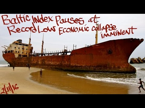 (BDI)The Baltic dry index is down about 98% from its peak of 11,793 points in May 2008