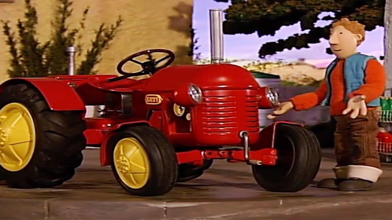 Kleiner Roter Traktor Lichterketten Cartoon Ganze