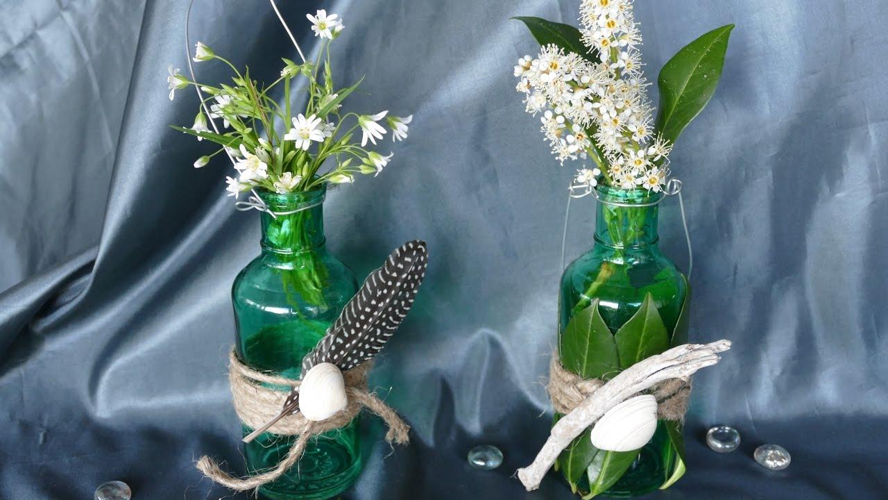 blumendeko – glasflasche als vase gestalten – basteln mit, Wohnzimmer dekoo