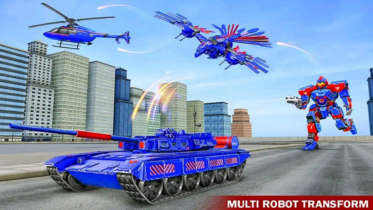 Download Police Robot Tank Eagle Multi Robot Transformations Game #3 - Android Gameplay