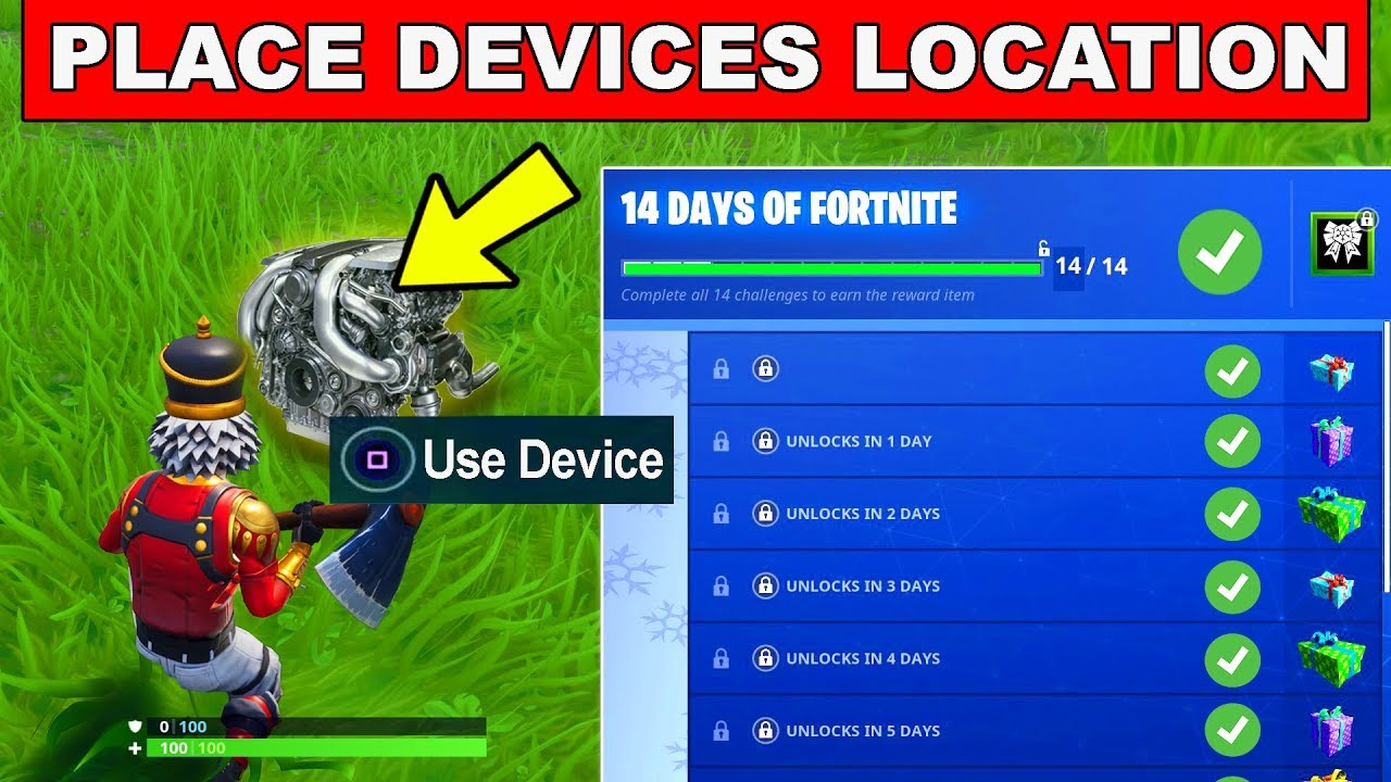 day 13 reward place devices on a creative island 14 days of fortnite challenges for free rewards - place devices on a creative island fortnite
