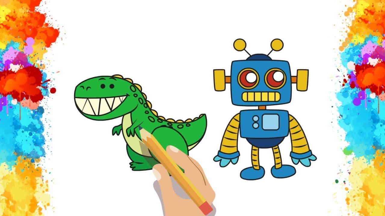 Dinazor Ve Robot Nasıl çizilir Boyama Sayfası çocuklar Için Boyama