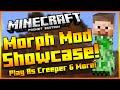 Minecraft Pocket Edition | MOPRHING & DAMAGE INDICATOR MOD | Shapeshifter Mod Showcase
